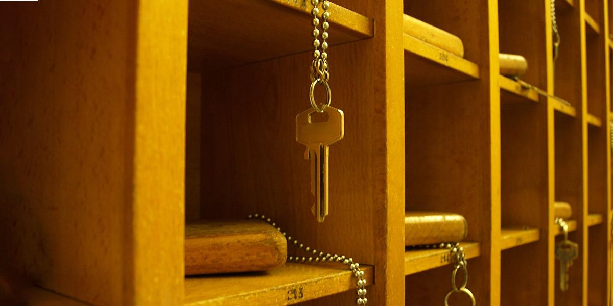 Hotel keys in reception