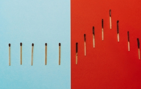 Matches on blue and red background